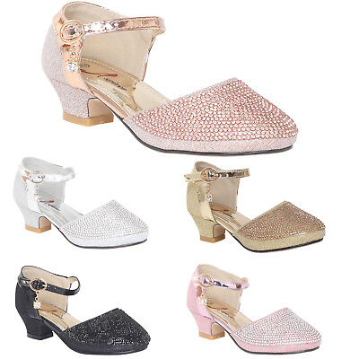 GIRLS CHILDRENS KIDS LOW MID HEEL DIAMANTE PARTY SHOES BRIDESMAID SANDALS SIZE | eBay