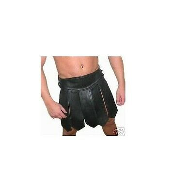 Mens 100% Pure LEATHER Gladiator Kilt GAY Clubwear LARP *NEW*