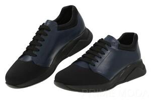prada black and white clutch - New Prada Black Blue Leather Neoprene Lace Up Casual Sneakers ...