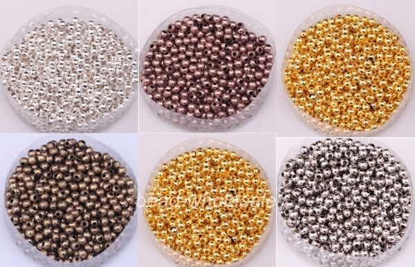 200Pcs 3mm Smooth Seamless Copper Round Spacer Bead For Jewelry Findings DIY