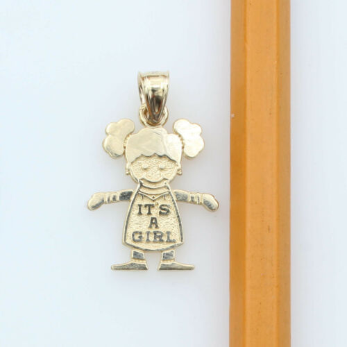 14K Real Solid Yellow Gold It/'s A Girl Charm Pendant for Kid /& Children