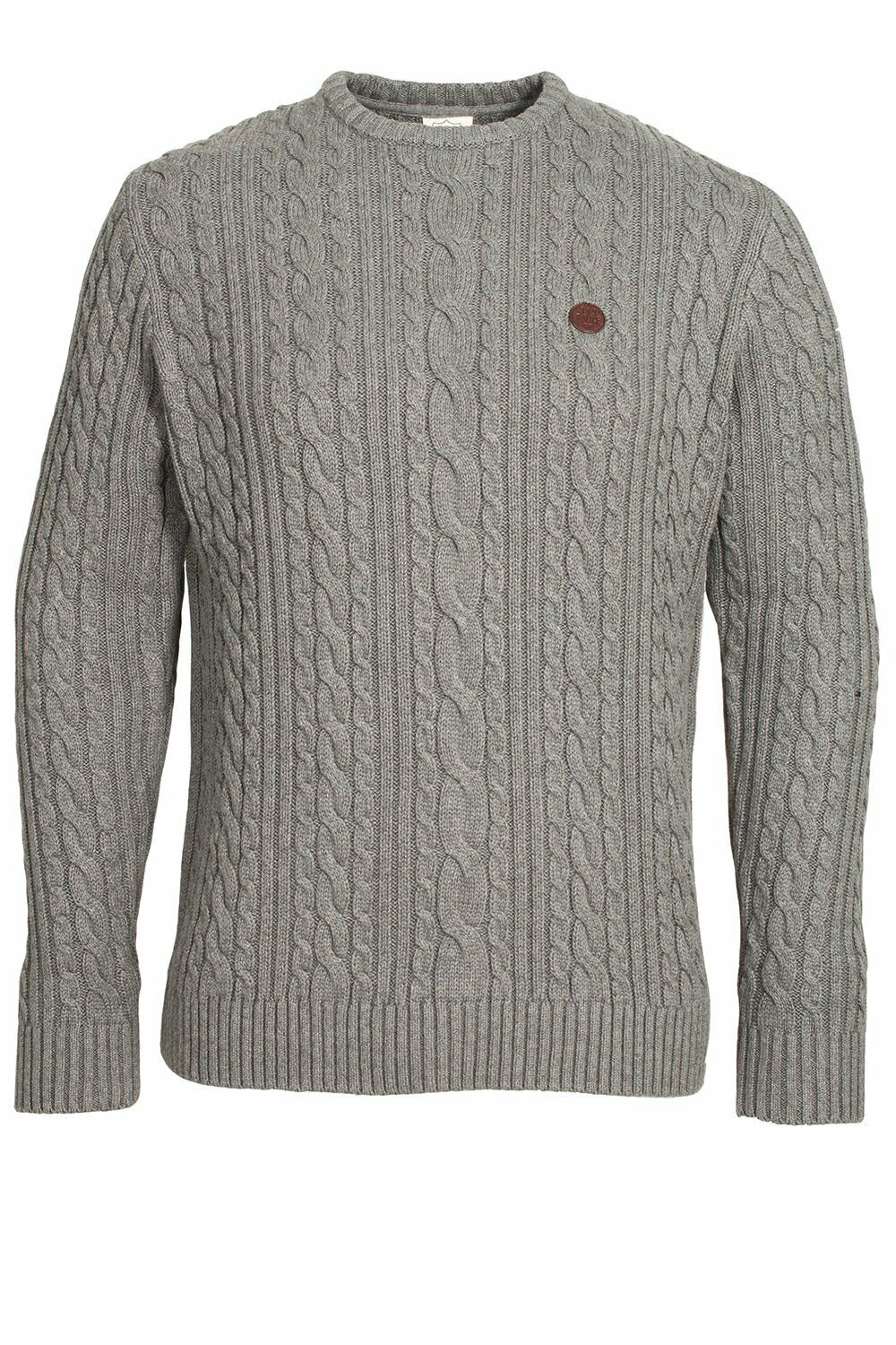 883 POLICE Secret Marl Grey Cable Knit Sweater