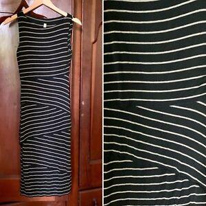 BAILEY 44 Anthropologie Bodycon Black Dress Sleeveless Striped SMALL