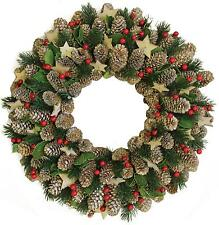 """14"""" Decorative Pine Cone with Berries and Stars Christmas Wreath - Unlit"""