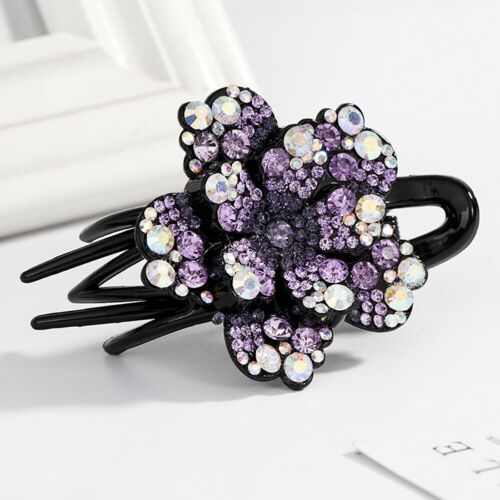 Flower Women Crystal Rhinestone Hair Clips Claw Lady Hair Pins Grips Accessories