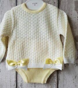 099c03435 Spanish Style Baby Girl Knitted Lemon Jumper and Jam Pants Set.