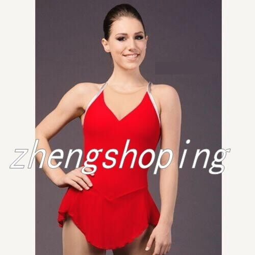 Gilrs' Ice Skating Dress Red Competition Rhythmic Gymnastics  Leotard 8838-6  lowest prices