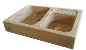 Dettagli su LAVELLO LAVANDINO LAVABO in marmo, pietra travertino cucina,  NON INCOLLATO