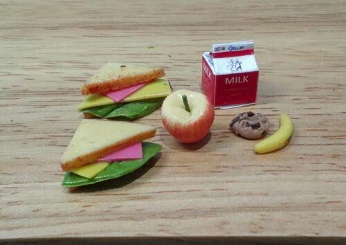 Dollhouse Miniature Lunch Bright deLights sandwich milk fruit /& cookie  1:12