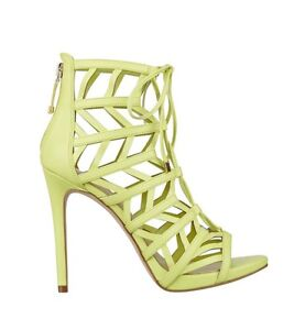 521fae9d8b4  110 Guess Women s Anasia Caged High Heels In Yellow Lace Up Size 7 ...