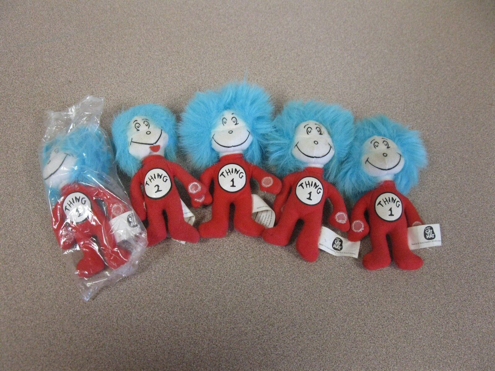 5 Dr. Seuss Cat in the Hat Movie Thing 1 plush Stuffed Animal Toy Doll 5
