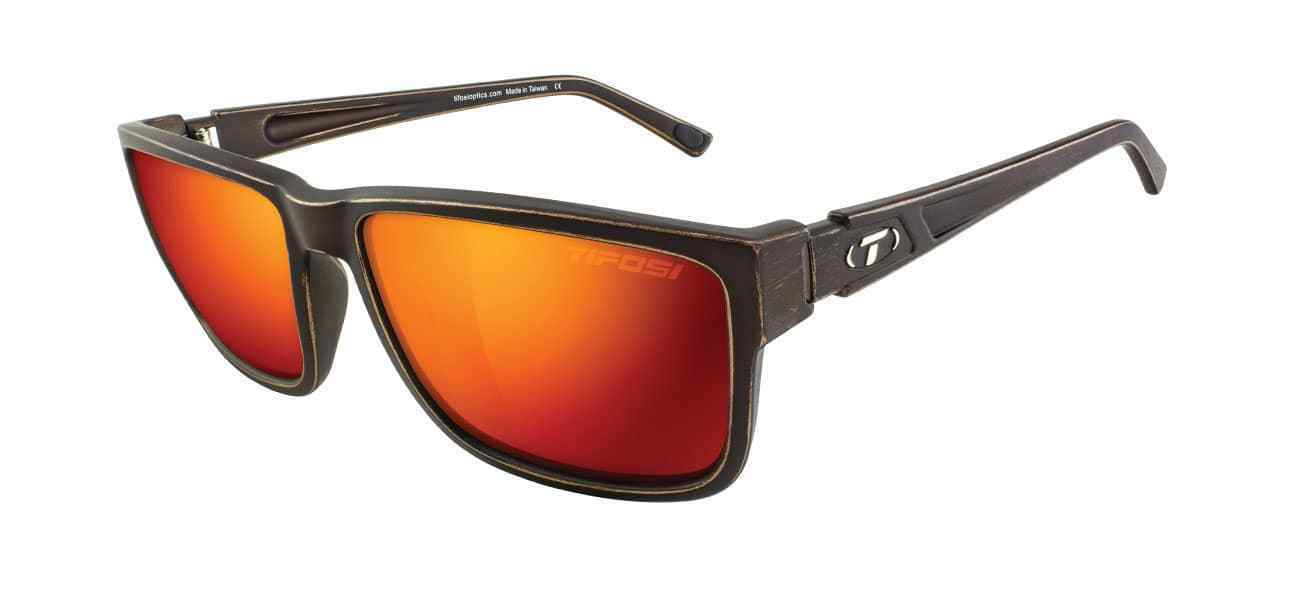 Tifosi Hagen XL Sunglasses - Distressed Bronze with Clarion Red Polarized lens