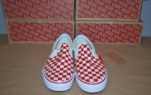 Vans Classic Slip-On  Primary Check  Checkerboard Red VNOA38F7P0T ... 4af82b92d