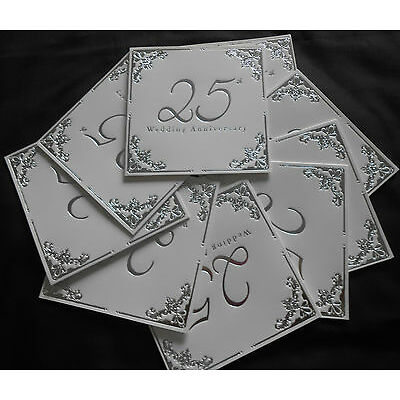10 PACK Of silver 25th  wedding anniversary INVITES / INVITATIONS  / party time
