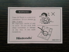 NINTENDO GAME & WATCH WARNING PINK SHEET HIGH QUALITY REPRO FOR MULTI SCREEN