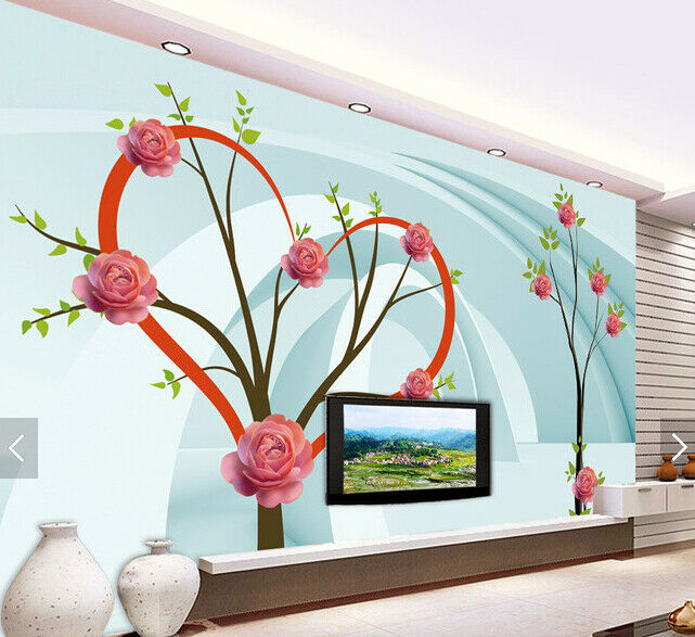 3D Love Shaped Tree 7 Wall Paper Murals Wall Print Wall Wallpaper Mural AU Lemon