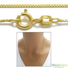 Guaranteed Genuine 14K Gold over 925 Sterling Silver Box Chain Necklace 1mm