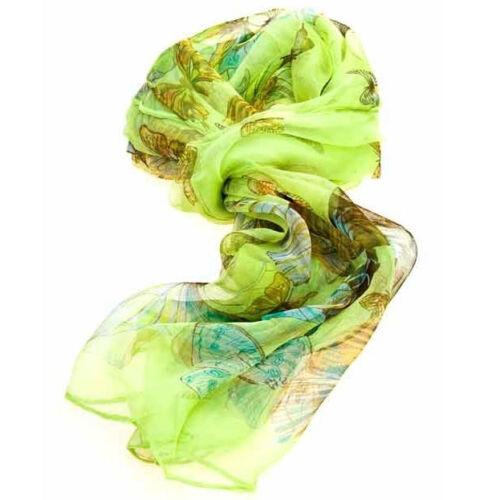 Ladies Multi Function 100/% Silk Green Chiffon Scarf M