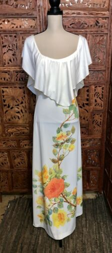 Vintage Long Dress Hippie Womens Flower Off Should