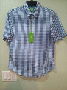 Hugo-Boss-Men-Regular-Fit-Shirt-Button-Up-Collar-Blue-stripe-Short-Sleeve-MED