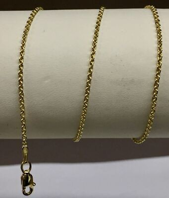 """14k Yellow Gold Round Rolo Link Necklace Pendant Chain 18/"""" 1.9mm"""