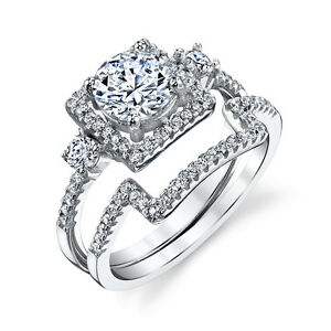 925 Sterling Silver Square band CZ Engagement Wedding Ring Set Cubic