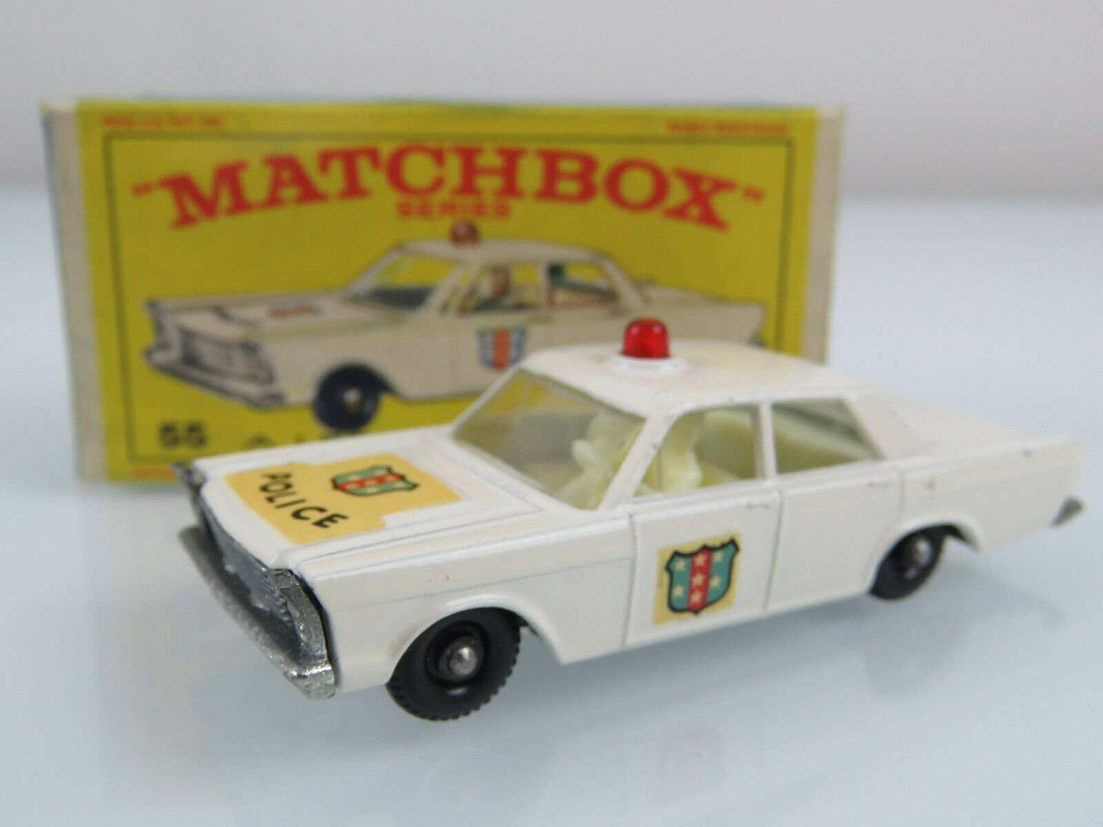 Lesney Matchbox 1966  55 Ford Galaxie Police Car Regular Wheels w Original Box