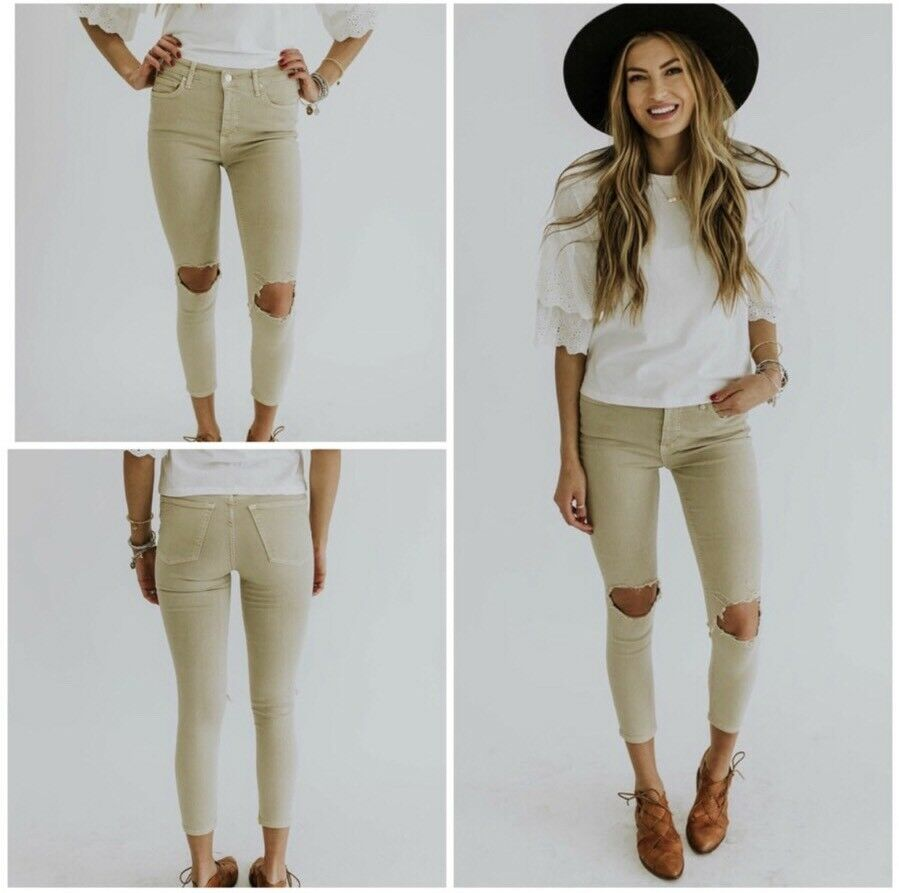 Free People Busted Knee Jeans Khaki Size 28 NWT