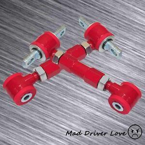 Red 2PCS JDM Rear Adjustable Camber Arm Kit For 1988-2000 Civic CRX EF EG EK EM