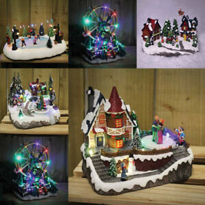 Christmas-Winter-Village-Scene-Ornaments-Musical-LED-Moving-Xmas-Decoration