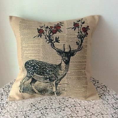 """17"""" Vintage Deer Cotton Linen Cushion Cover Throw Pillow For Home Decor B227"""