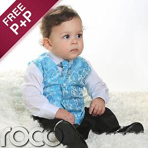 Boys-Turquoise-Blue-4pc-Wedding-Pageboy-Communion-Formal-Paisley-Waistcoat-Suit