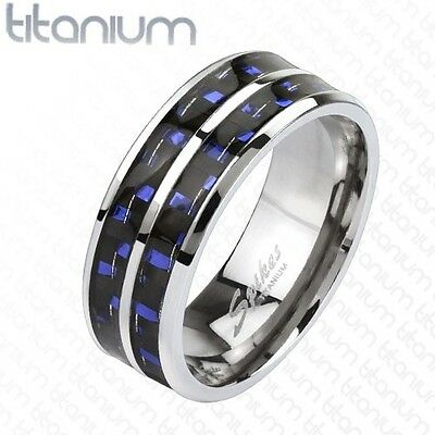 Men's Solid Titanium Wedding Engagement Band with Blue Carbon Fiber Inlay Ring