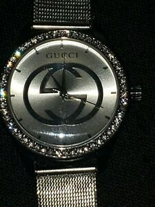 Gucci-Quartz-Wrist-Watch-Men-Women-stainless-Steel-stones-silver-GG-used