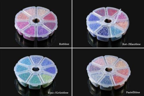 INWARIA Rocailles mit Silbereinzug Mix Ø 2//3//4mm Perlen in Box Glasperlen RP-11m
