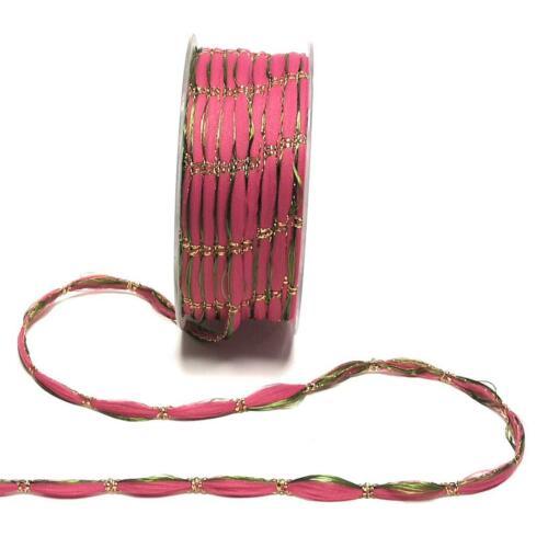 1m//0,06€ SCHMUCKKORDEL 50m x 8mm PINK GRÜN GOLD Zierkordel Weihnachtskordel