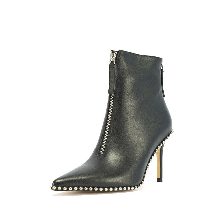 Women Slim High Heels Pointed Toe Zip Zip Zip Ankle Boots Solid Black Stiletto Booties 0e4813