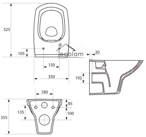 WC Vorwandelement 100 cm Toilette wandhängend Spülrandlos CLEAN ON Soft Close