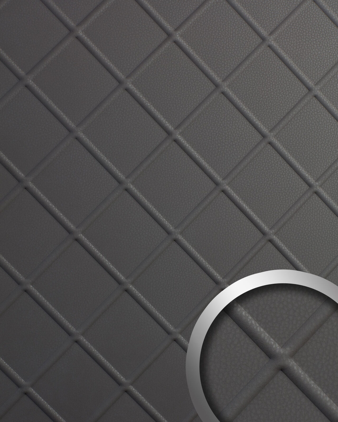 WallFace 19546 CORD Charcoal Light Wandverkleidung Leder Optik matt grau 2,6 m2