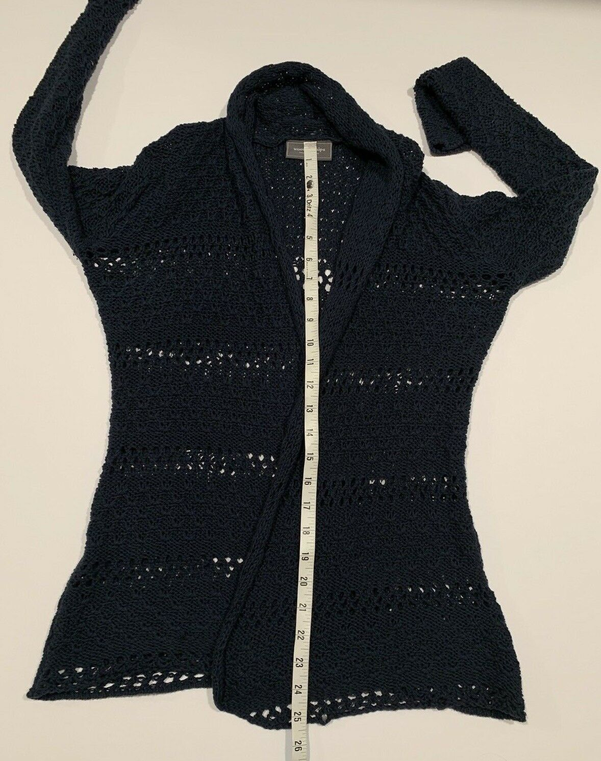 Women's WOODEN SHIPS Paola Buendia XS S S S Navy Light Open Knit Sweater Cardigan 487abc