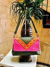 Designer Inspired Ostrich Print Shoulder Bag-Green