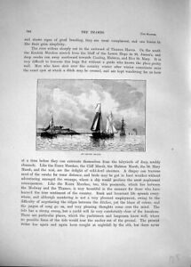 Old-Antique-Print-3406-View-Canvey-Island-Boat-River-Thames-1885-Cassell