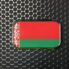 "BELARUS FLAG CHROME Emblem Proud Беларусь Flag Car Domed sticker 3D 3""x 1.8"""