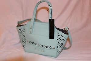 Details About B Makowsky Perforated Saffiano Mini Tessa Leather Tote Handbag Beach Glass