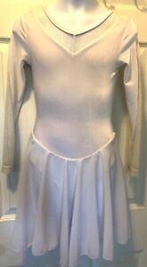 GK-WHITE-VELVET-CHILD-LARGE-GLITTERED-MESH-V-BACK-ICE-DANCE-SKATE-DRESS-Sz-CL