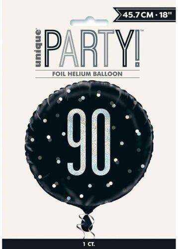 "18/"" Black /& Silver Glitz 90 Foil Balloon 90th Birthday Party Decoration Helium"