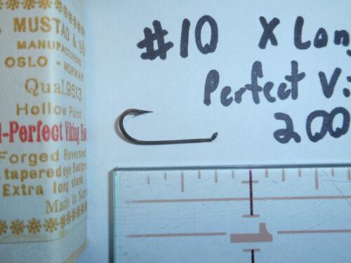 200 MUSTAD # 10 Perfect Viking Hooks Forged Rustproof Reversed X Long PAN FISH!!