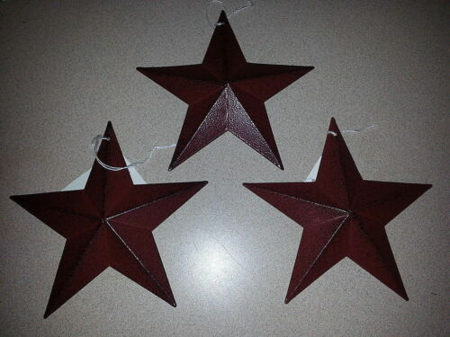"Farmhouse 5-1//2/"" Rustic Star Ornaments 3 Burgundy 5.5/"" Metal Barn Stars"