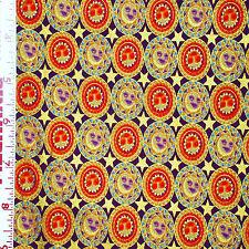 1YD Celestial SUN MOON STAR Metallic MEDALLIONS Purple ZODIAC Lyndhurst Fabric