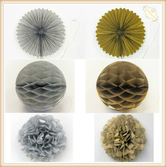 Gold Silver Foil Tissue Paper Pom Poms Fans Tassels Honeycomb Balls Party Decor